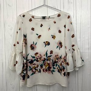 🦃4/$15 ANN TAYLOR FLORAL BLOUSE BELL SLEEVE TOP L